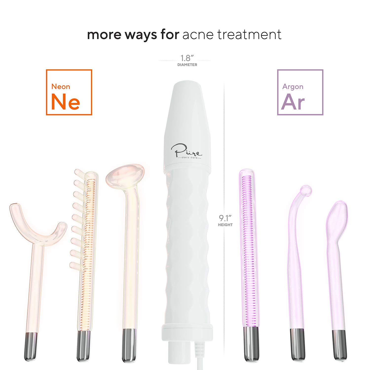 NuDerma Professional Skin Therapy Wand - Portable Handheld High Frequency Skin Therapy Machine with 6 Neon & Argon Wands - Acne Treatment - Skin Tightening - Wrinkle Reducing – Facial Skin Lifter: Beauty