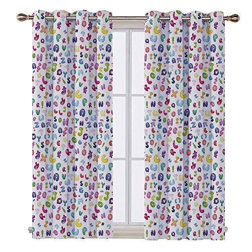 (SATVSHOP Hugo Short valances Curtain Windows Treatment for Kitchen Living Room - 108W x 108L Inch- Kids Cute Colorful Alphabet ABC Bubble Letters Doodle Style Fun Childish Nursery)