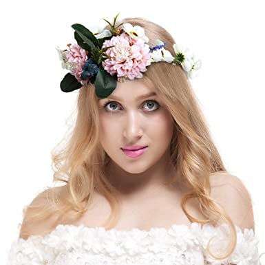 Valdler Vintage Nature Berries Flower Crown with Adjustable Ribbon for Festivals Party