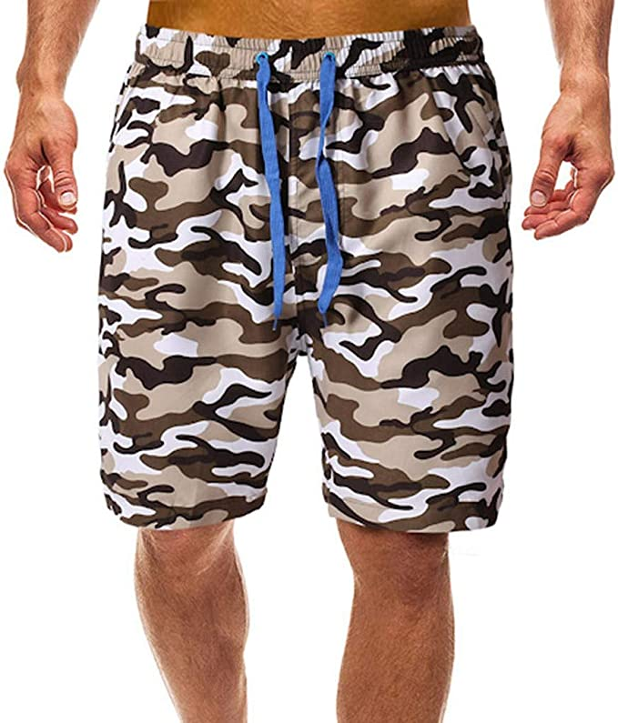 GREFER Mens Printed Swimming Suits Drawstring Trunks Quick Dry Swim Shorts