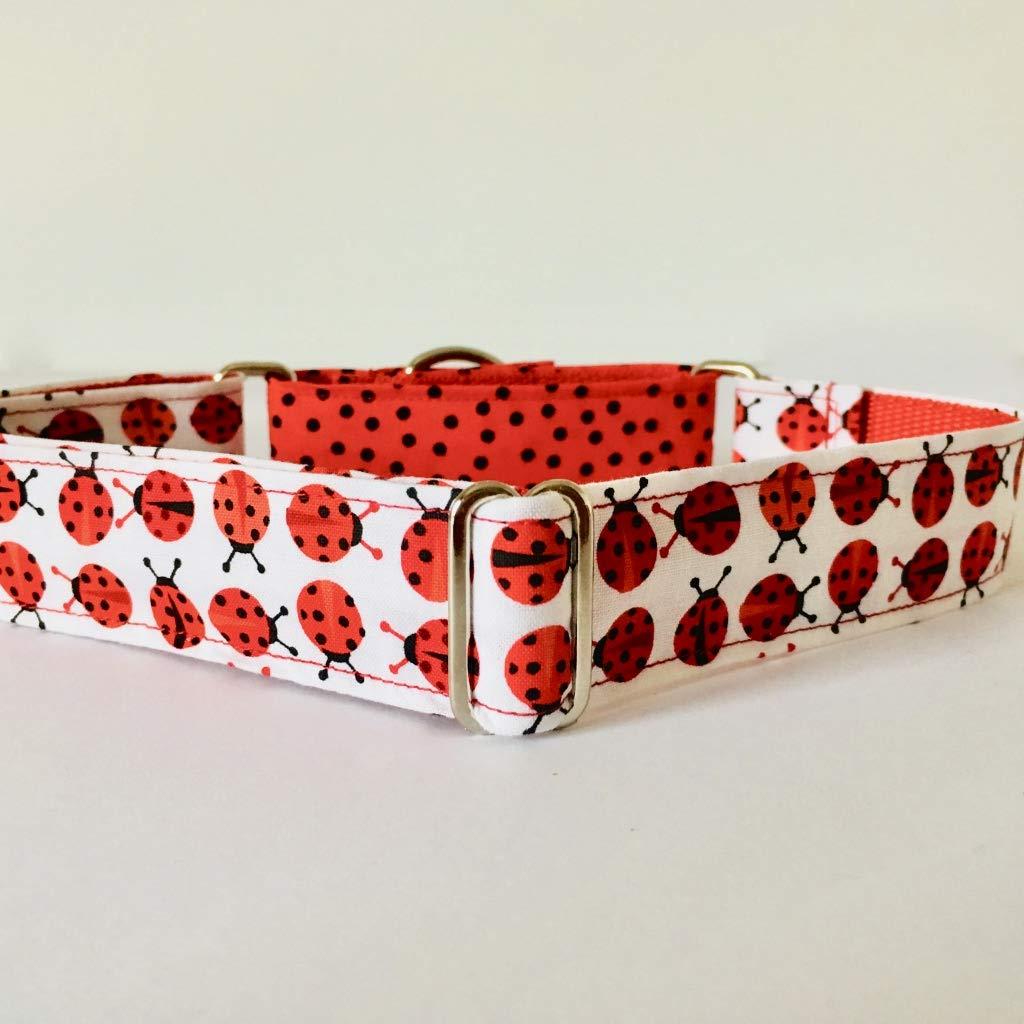 Collar Perro Martingale Modelo Mariquitas y Lunares Rojo