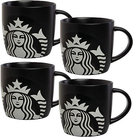 Starbucks - Juego de 4 tazas de café con caja de regalo de cerámica para té y chocolate caliente: Amazon.es: Hogar