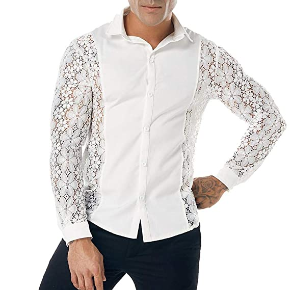 Yvelands Camisas de Encaje Moda Camisas de Encaje Casual Camisa de ...