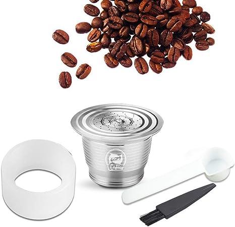 KKmoon Compatível com Nespresso Cápsula de Café em Aço Inoxidável Reutilizável Recarregável Filtro de Copo de Cápsula de Café com Anel de Prensa de Pó para Pincel Colher: Amazon.com.br: Ferramentas e Construção