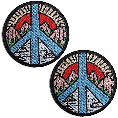 TACVEL Peace Sign Mountain and River Sun Embroidered Patches Iron on/Sew on Emblem Patches Applique for Jackets, Jeans, Backpacks, Caps