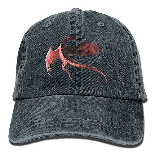 (HZamora_H Men&Women Dragon Red Adjustable Vintage Washed Denim Cotton Dad Hat Baseball Cap Navy)