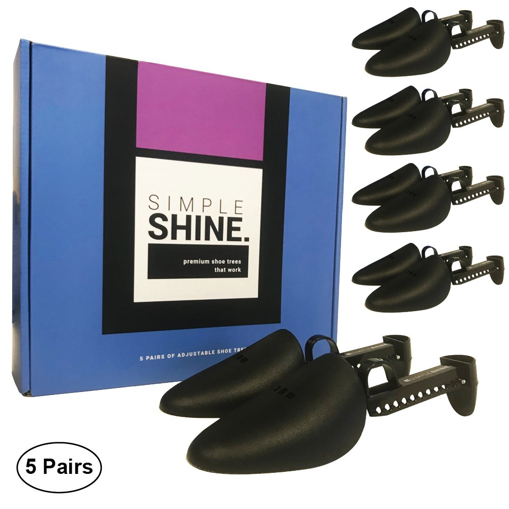 5 Pairs of Shoe Trees | 10 Premium Adjustable Length Shoes Shaper | Shoe Form Toe and Heel Guard