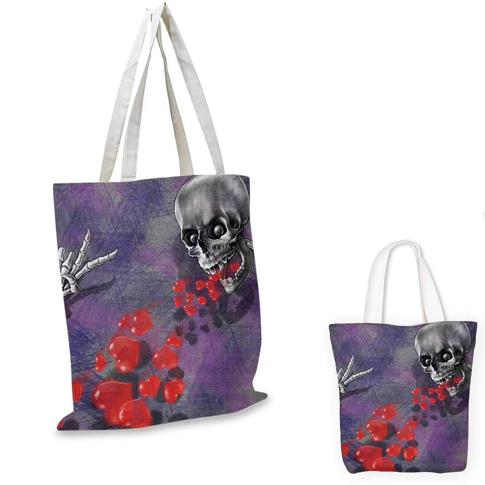 Skull canvas messenger bag Romantic Skeleton Handsome Corpse Groom with Tuxedo Hearts in the Backdrop Print canvas beach bag Black and Red 12x15-10
