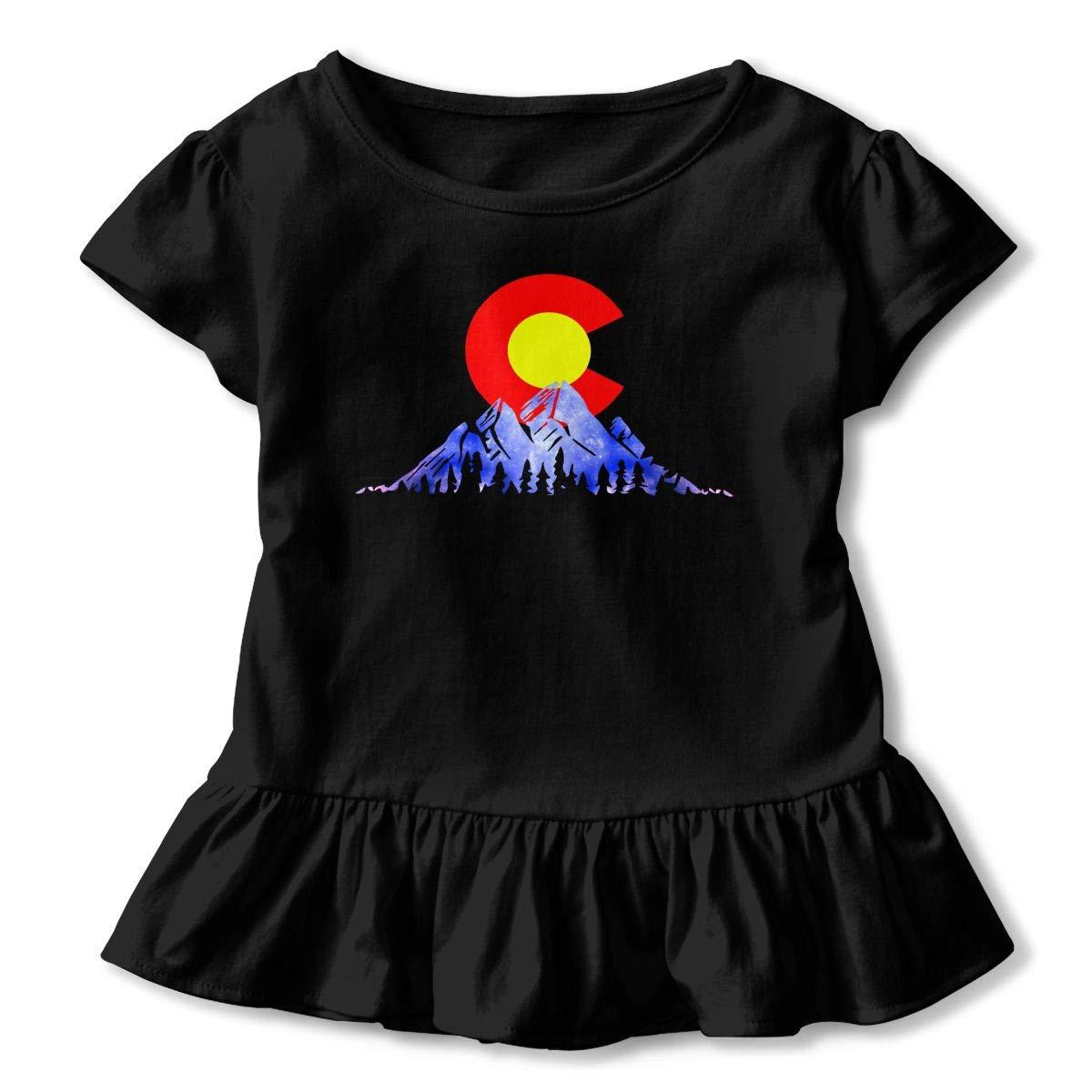 Retro Vintage Colorado Mountain Toddler Baby Girls Short Sleeve Ruffle T-Shirt