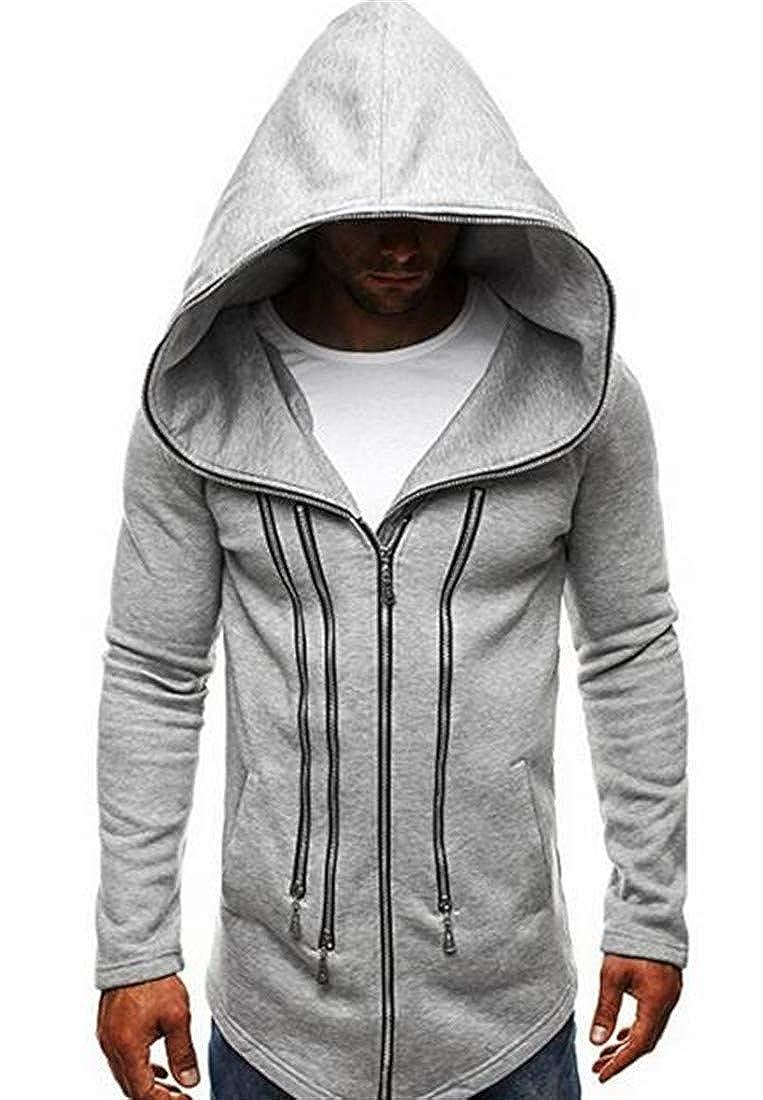 BU2H Men Caftan Poncho Hooded Sweatshirt Zip Off Stylish Open Front Longline Cardigan