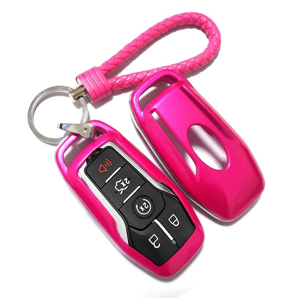 Thor-Ind ABS Car Key Fob Case Cover Key Chain for Ford Taurus Mustang F-150 F-450 Explorer Fusion Edge Lincoln MKC MKZ MKX 4//5-Button Smart Key Glossy Plastic Protective Shell Purple