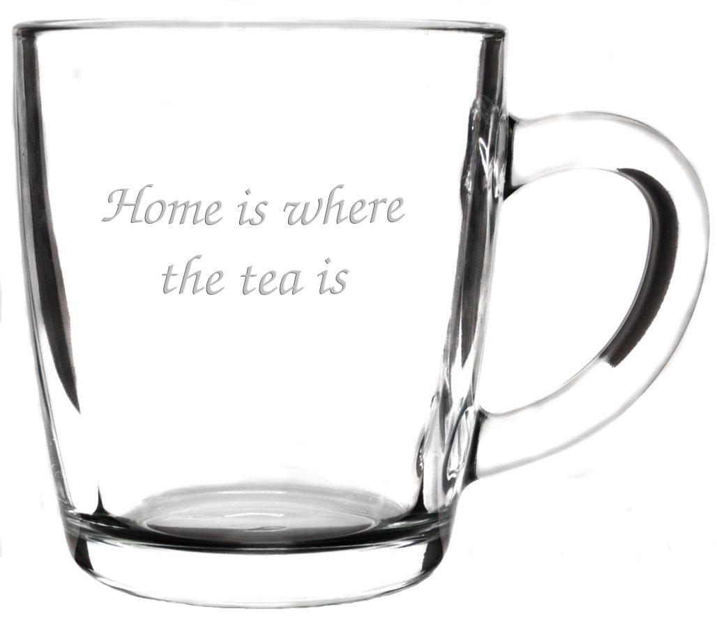 Personalised 340ml Curved Glass Tea Cup Drinking Mug, Engraved County Engraving