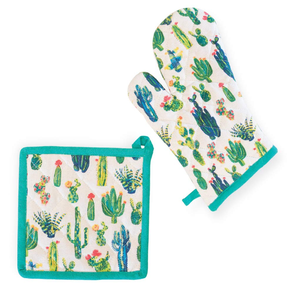 My Little Cactus Southwest Green 13 x 8 Cotton Fabric Oven Mitt Potholder Set
