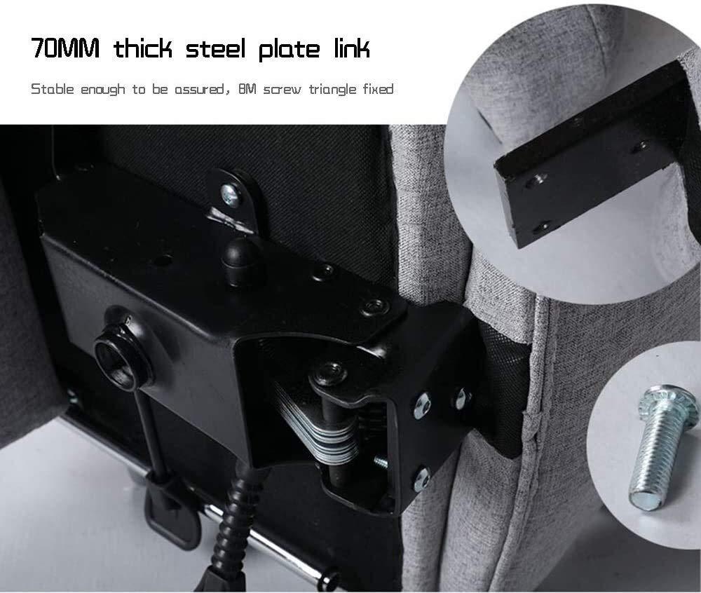 Xiuyun datorstol uppgift svängbar verkställande datorstol med fotstöd högt ryggstöd tyg spelstol med nackstöd och ländrygg stöd atletisk stol (färg: Ljusgrå) Brun