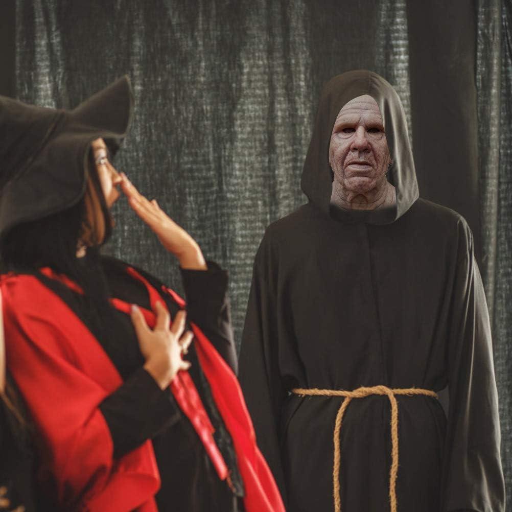 Fangteke M/áscara de Hombre Viejo M/áscara de Halloween M/áscara de Hombre Calvo Arruga Realista para El Carnaval de Halloween