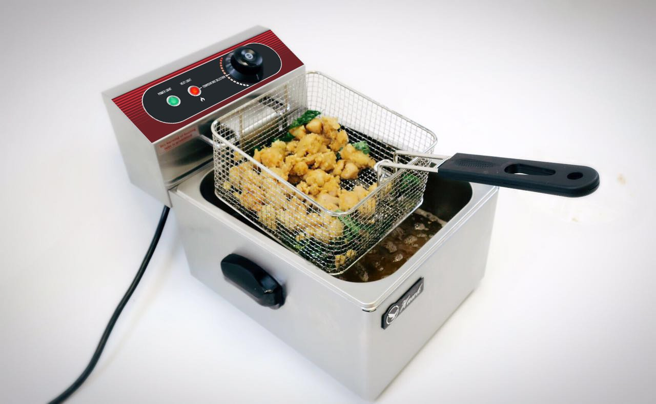 Professional 5.5L Electric Deep Fryer, Stainless Steel Chicken Chips Fryer with Basket Scoop for Commercial Restaurant Counter-top Family Food Cooking, Single Tank