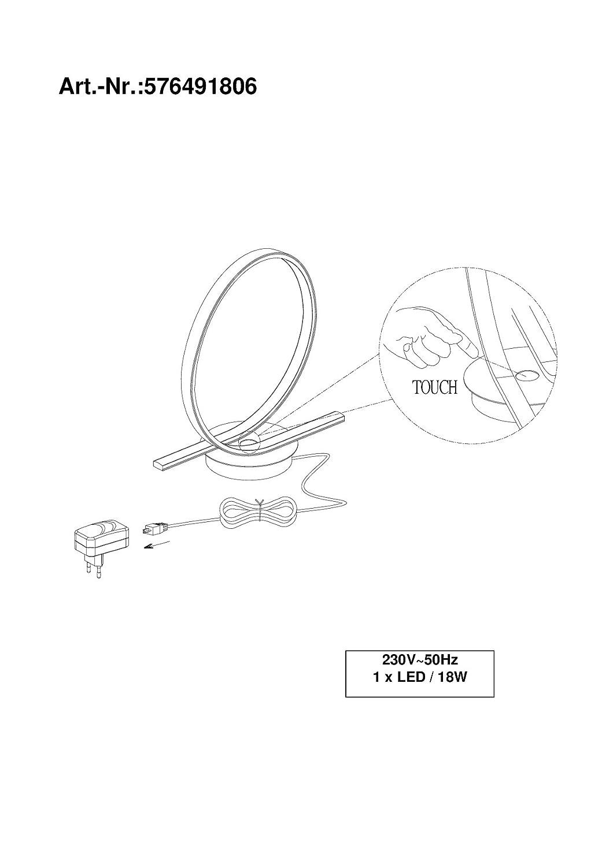 Trio LED Design Touch Tischleuchte Tischlampe 576491806 18W Lampe Leuchte Neu
