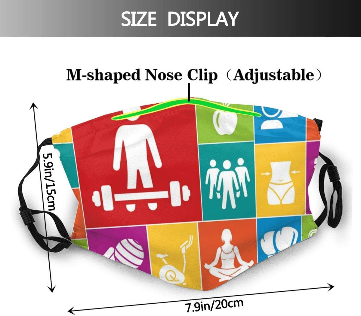 819 SFKKL Fitness Colorful Icons Health Print Dust Washable Reusable Filter and Reusable Mouth Warm Windproof Cotton Face