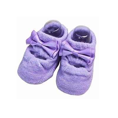 2 paires Bébés filles Chaussures Chaussettes anti-dérapant chaussettes, Purple B