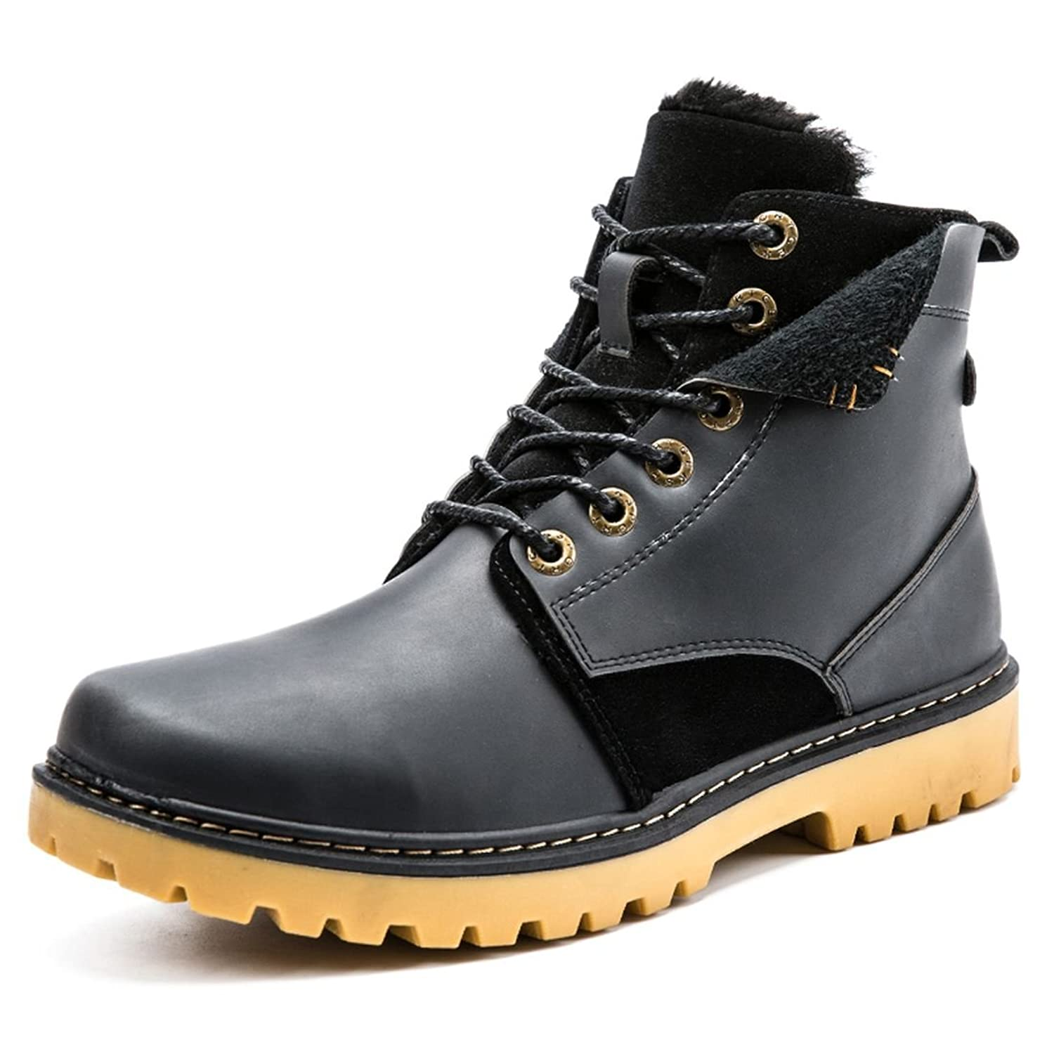 Zixi Pydi(TM) Mens Winter High Top Leather Martin Boots Fur Lined Cotton Shoes With Lace-up