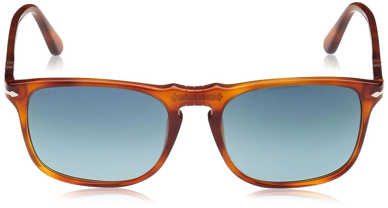 Persol Unisex Sonnenbrille PO3059S, Gr. Medium (Herstellergröße: 54), Mehrfarbig (Gestell: terra di siena, Gläser: blau-verlauf polarisiert 96/S3)