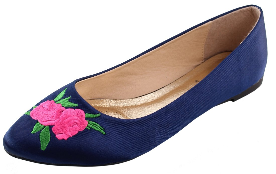 Elegant Footwear Women's Embroidered Rose Floral 90s Pointed Toe Ballet Flat B0722YFD9B 7.5 B(M) US|Navy