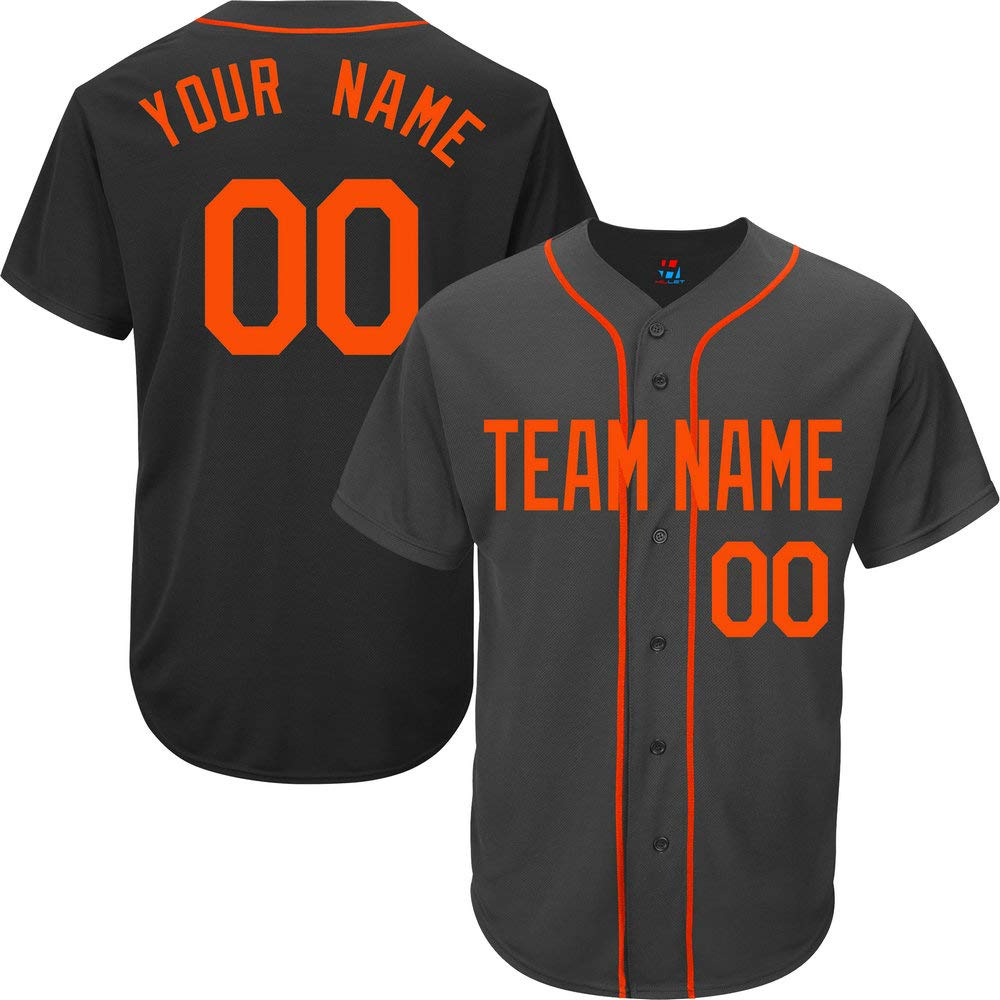 Black Custom Baseball Jersey for Men Full Button Mesh Big and Tall Embroidered Name & Numbers,Orange Size 5XL by Pullonsy