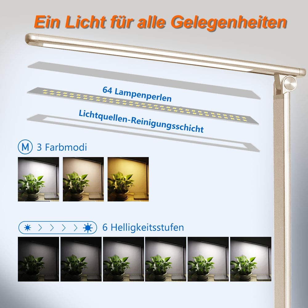 USB-Ladeanschluss und 6 Helligkeitsstufen LED Schreibtischlampe Dimmbar Tischlampe Augenschutz Leselampe Nachttischlampe Golden drehbar B/ürolampe mit WIFI Touchfeldbedienung Tischleuchte
