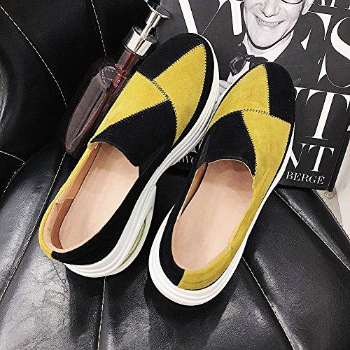 Chaussures 39 Bande Coutures Yellow KJJDE À Couleur De Femme Plateformes Q1418 Élastique De WSXY Semelles Coins fxwRwUdqSa