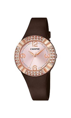 Calypso - Reloj de Cuarzo para Mujer con Rosa Esfera Analógica Pantalla y Correa de plástico de Color marrón K5659/3: Amazon.es: Relojes