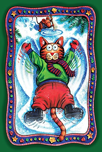 (Toland Home Garden Snow Angel Kitty 12.5 x 18 Inch Decorative Funny Winter Cat Garden Flag)