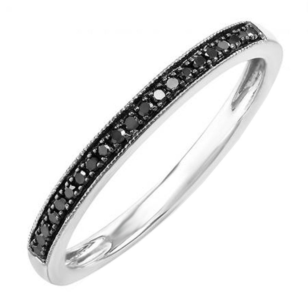 0.10 Carat (ctw) Sterling Silver Round Black Real Diamond Wedding Milgrain Stackable Band (Size 4.5)