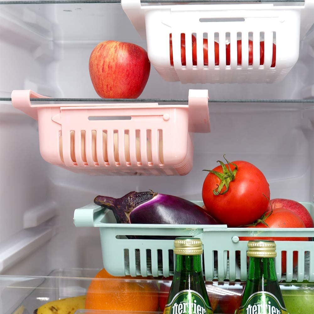 Milaski Fridge Drawer Organizer 3 Pcs Retractable Organizer Storage Box Classified Container Basket Refrigerator Food Fresh-Keeping Organizer Fit for Fridge Shelf Under 0.5''