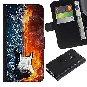 Ihec-Tech / Flip PU Cuero Cover Case para Samsung Galaxy S3 MINI NOT REGULAR! I8190 I8190N - Water and fire guitar