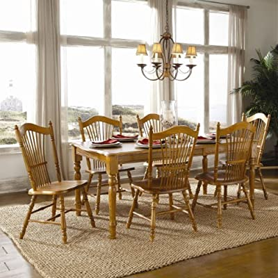 Brooks Furniture Traditional 174272-0718M Laminated Top Rectangular Leg Table with 1 Leaf and 6 Sheafpost Side Chairs, Medium, Oak Finish