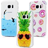 3x Cover Samsung Galaxy S7, Custodia Silicone Morbido Trasparente TPU Flessibile Gomma design IMD - MAXFE.CO Case Ultra Sottile Cassa Protettiva Design per Samsung Galaxy S7 - Penguin, Ananas, Donuts colorati