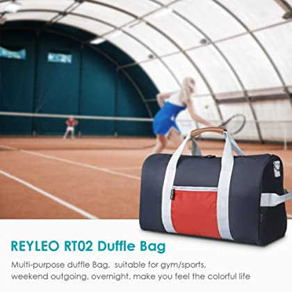 89eac9fc4d REYLEO Sports Gym Bag Small Travel Duffel Bag Water Resistant Bags with  Leather Handle Color Blocking