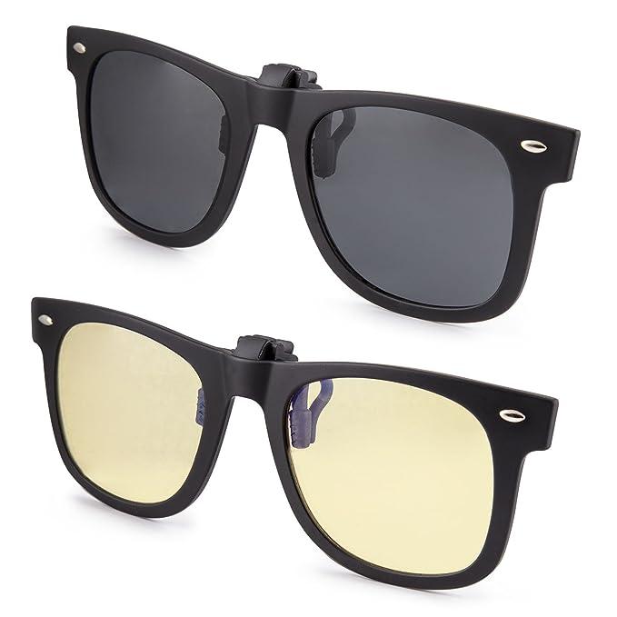 clipshades 2 unidades ligero CLIP-ON gafas de sol y anti Blue Ray Gafas para