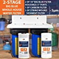 "2-Stage Big Blue 10"" Whole House+Bracket+String Wound Sediment + Carbon Filters"