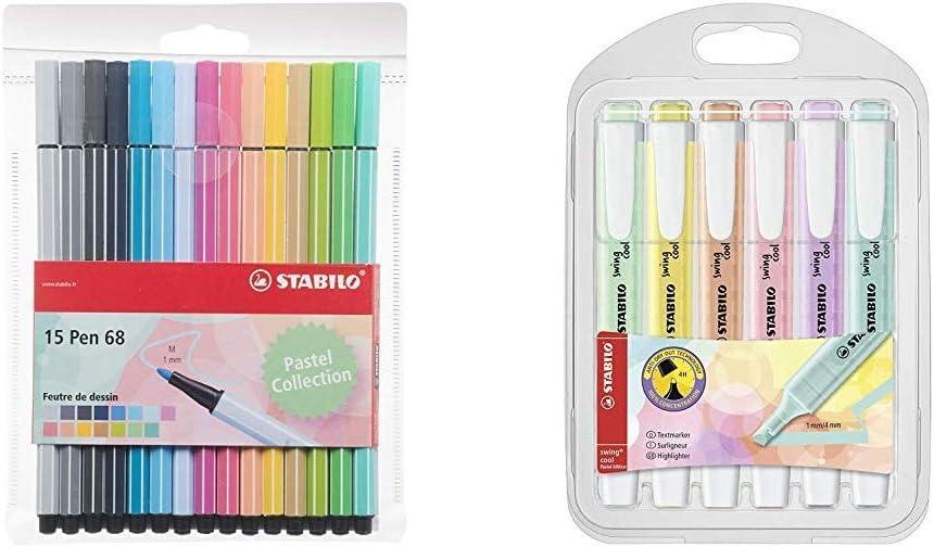 Stabilo Pen 68 - Estuche de 15 rotuladores de punta media (colores ...