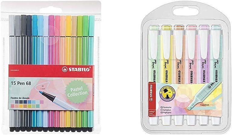 Stabilo Pen 68 - Estuche de 15 rotuladores de punta media (colores pastel) + Marcador pastel STABILO swing cool Estuche con 6 colores: Amazon.es: Oficina y papelería