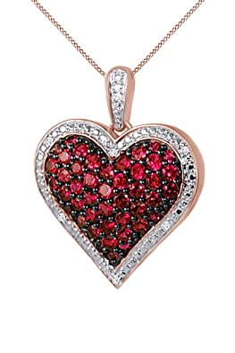 Jewel Zone US 1 Ct. Simulated Ruby Natural Diamond Heart Pendant Necklace 14k Gold Over Sterling Silver
