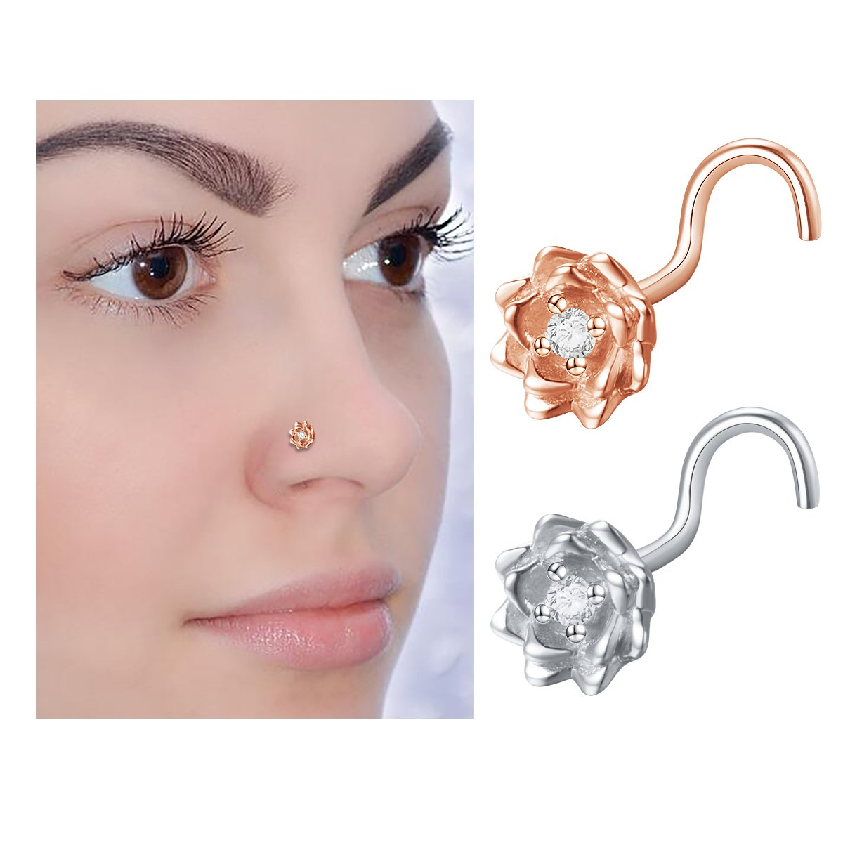 Sterling Silver Rose Gold Plated CZ Flower Nose Stud Rings L Shape Screw Body Jewelry (2 pcs)