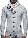 Leif Nelson Men's Knitted Jacket Cardigan – Small – Grey