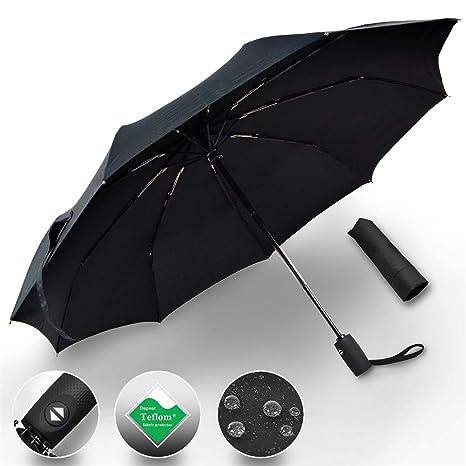 Paraguas Plegable Automático, Paraguas de viaje portátil para Hombre y Mujere, Resistente al Viento