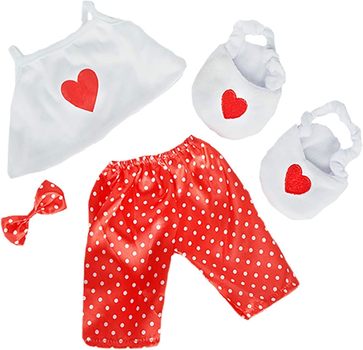 """B003GYTR8S Satin Heart Pj's with Heart Slippers Teddy Bear Clothes Fits Most 14""""-18"""" Build-A-Bear and Make Your Own Stuffed Animals 61iLc-GTQBL"""