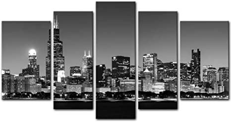 Chicago Skyline Cityscape Canvas Print Painting Home Decor Wall Art Artwork Pic