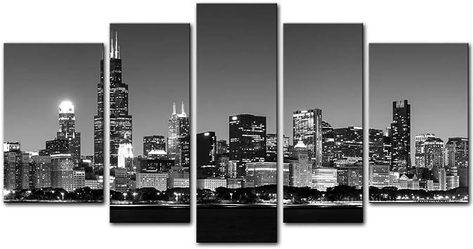 Chicago city skyline illinois toile wall art panorama encadrée imprimer