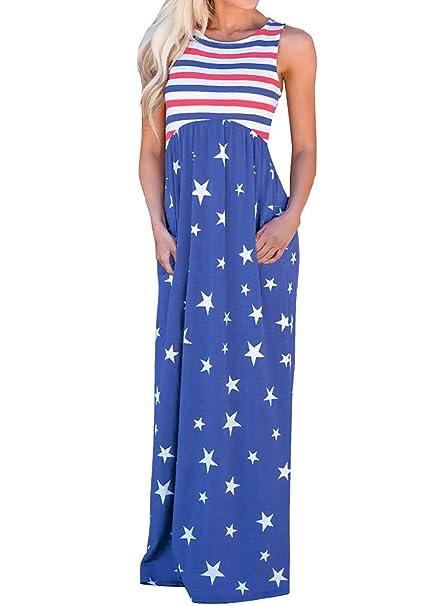 Sommer Damen Lange Kleid Freizeit Striped Stern Blumen Kleider  Blusenkleider Strandkleider Mode Rundhals Ärmelloses Kleider Abendkleider 018c9aca87