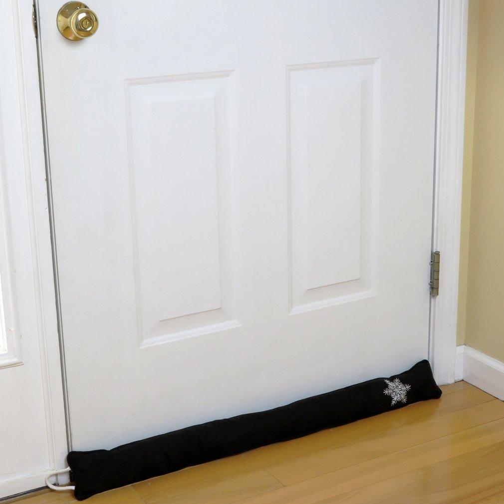 Evelots 36'' Snowflake Hanging Door Draft Stopper W/Over The Door Hook, Black